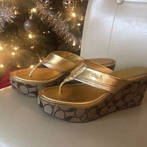 COACH wedge sandals EUC